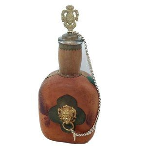 Vintage Italy Leather Decanter Lion Chain Glass